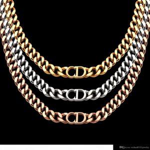 2020luxury donne designer di gioielli collane in oro rosa spesse catene collane con bracciale in acciaio CD e collegamento di modo vestito della collana