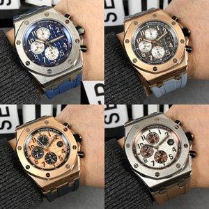 Moda Royal Oak Offshore Chronograph progettista Guarda il 42 Ginza cassa in oro rosa quadrante nero cinturino in pelle al quarzo Mens guarda l'orologio ie5U #