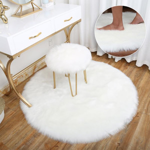 Soft Faux Sheepskin Fur Area Rugs for Bedroom Living Room Floor Shaggy Silky Plush Carpet White Faux Fur Rug Bedside Rugs