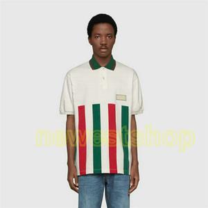 новый дизайнер роскошь одежда для мужского классической полосатого зеленый красного лоскутной печати тенниска вышивка значок тенниска вскользь отложной воротник поло