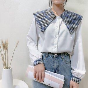 Deeptown Vintage Kadınlar Gömlek Katı Sonbahar 2020 Moda Düğme Gömlek Kontrol Baskı Uzun Kollu Bayan Giyim Gevşek Bluz Yukarı