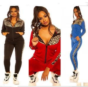 Женщины Tracksuit Дизайнер леопардовый с длинным рукавом свитера Молнии куртки Пальто Брюки Леггинсы Две пьесы Лоскутная цвета Спортивный костюм E82604