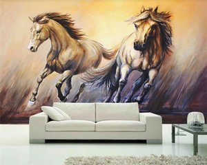 European Wallpaper 3d Bedroom Wallpaper A Galloping White Galloping Horse Oil Painting Interior Decoration 3d Animal Wallpaper