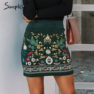 Simplee Vintage gonne a vita alta womens Skirt bottom Boho inverno matita velluto a coste femminile ricamo autunno sexy mini gonna verde 200922