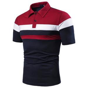 رجل لعبة البولو قميص أزياء اللون على النقيض من مخطط المرقعة بولو عارضة قصيرة الأكمام طية صدر السترة العنق بولو ملابس رجالي