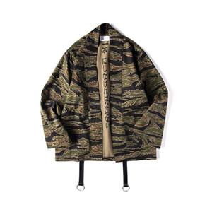Японские Camo Кимоно куртка китайского Mens Style Hip Hop Камуфляж Повседневного Open Стич пальто мода Streetwear куртка XL