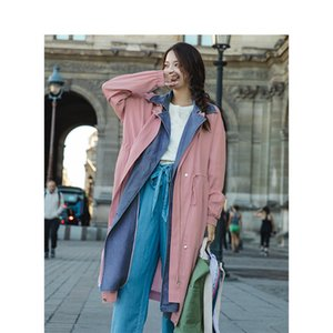 INMAN Spring Autumn New Arrival Turn-down Collar Vintage Fashion Nipped Waist Slim Splicing Fake Two Pieces Long Coat