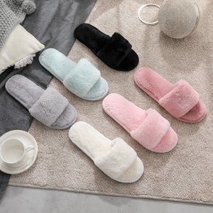 Simple Pure Color Warm Plush Womens Slippers Tide Open Toe Shoes Fashion Non-slip Home Slippers Designer Breathable Bathroom Slipper
