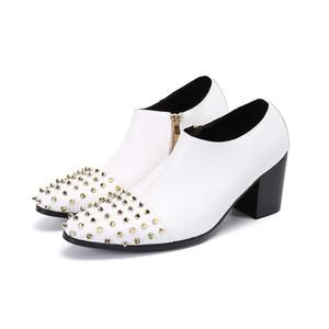 Handmade Leather Shoes Men White High Top Fashion Dress Shoes Rivets Spiked Toe Men'S Vintage 7Cm High Heel Side Zipper