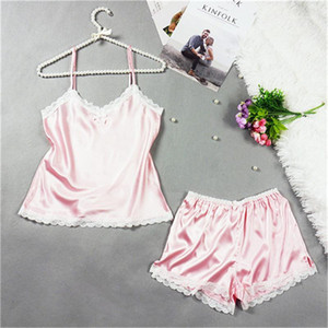 Solid CoLor Sleeveless V Neck Womens Underwear Women Two Piece Outfits Sexy Womens Designer Pajama Sets