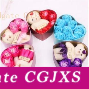 Romantik Gül Sabun Çiçek ile küçük şirin Ayı Doll 3 Rose 1 Ayı 9 Gül Kalp Kutu Sevgililer Günü Hediyeleri Düğün Hediye Doğum