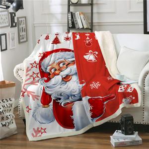 Christmas Blanket Cartoon Santa Soft Warm Winter Sherpa Fleece Throw Blankets Xmas Plush Bedspread Cover For Beds Sofa Couch Car