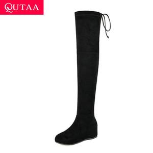 QUTAA 2020 schnüren sich oben runde Zehe beiläufige Frauen Schuhe warme Pelz Höhe zunehmende Winter-Stretch Gewebe über das Knie Stiefel Größe 34-39