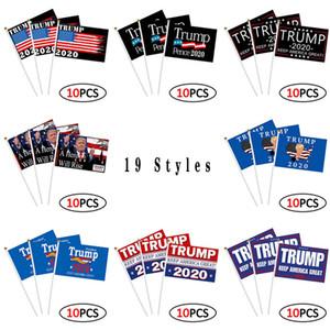 Donald Trump Hand-gekröpft Flag 2020 Trump Kampagne Flagge mit Flagpole 14 * 21cm Trump Wahl Flag Versorgungsmaterial-freies Verschiffen