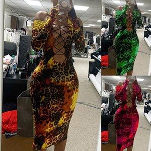 Sexy Leopard Mulheres Vestido Moda Alças oco Out Bodycon Vestidos Sexy Mulheres Party Dress Clube