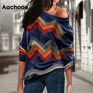 Aachoae Женщины Блузы с плеча Топы Полосатый пуловер печати Перемычка Повседневный Вязаные Top с длинным рукавом Блузка рубашка Camiseta Mujer 200925