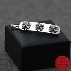 s925 sterling silver hair accessories hairpin simple cross flower letters personality high-end punk hip-hop style modeling