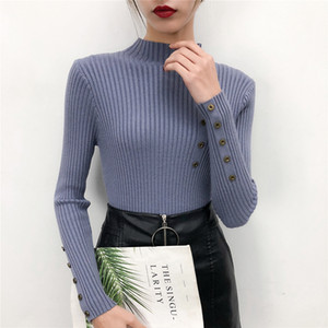 Women Sweater for Autumn and Winter 2020 Black Sweater Long-Sleeve Knitwear Top Women's Casual Button Solid White 0828