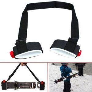 Adjustable Ski Pole Shoulder Strap Portable Handlash Handle with Shackle Protection Black Nylon Ski Handle Strap Bag