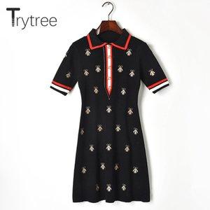 Trytree Summer Dress casual elegante ricamo delle donne abiti camicia ape Turn-down Collar Pulsanti Knitting Mini Office Lady Dress