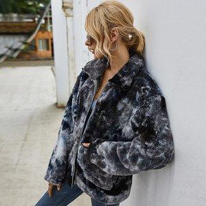 Women Fashion Tie Dye Coral Fleece Coat with Pocket Lady Winter Soft Warm Long Sleeve Full Zip Jacket Girls Streetwear Outfits