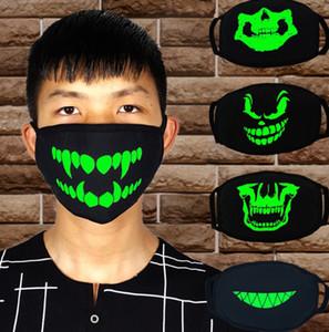 Preto Cartoon Face Máscara Dentes engraçados Punk Luminous Crânio do fantasma Anti- Poeira Inverno Cubre Bocas Hombre Cotton Mouth máscara GWD1043