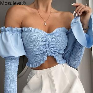 Mozuleva spalle increspati coulisse donna Ultime Camicette Camicie Flare estate del manicotto Crop Tops Moda Blusas Mujer Abbigliamento