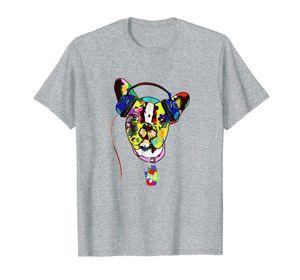 Французский бульдог рубашка Музыка Наушники Смешные собаки Футболка Сыпучие Размер Tee Shirt