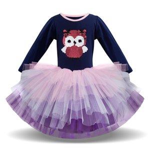 Clearance Excelent New summer Dress Mesh Girls Children Long Sleeved Cartoon Animal Gauze Princess Tutu Dress Z0205