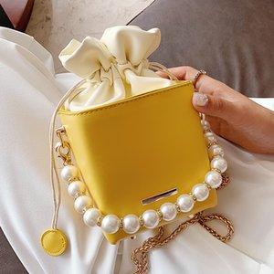 Púrpura perla de la manera cadena del hombro del bolso del cubo del bolso, carteras, bolsos de diseñador de las mujeres Sac principal Cruzado Bolsas para mujeres