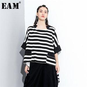 [EAM] Women Black Striped Irregular Big Size Long T-shirt New Round Neck Half Sleeve Fashion Tide Spring Summer 2020 1X825 0924