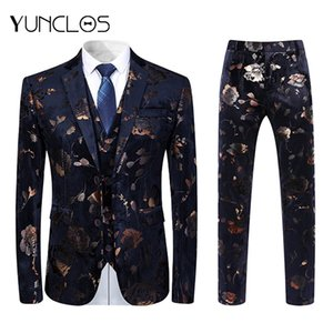 YUNCLOS Floral Printed 3 Pieces Men's Suit Shawl Collar Slim Fit Luxury Wedding Suits For Men Mens Suits with Pants