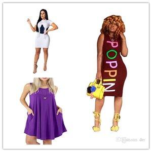 Les femmes POPPIN Lettre d'été T-shirts Robes Skinny Designer coloré Sexy Fashion Club Robe sans manches Femme Vêtements