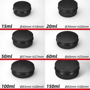 Videz ronde Organisateur Jars cosmétique en aluminium noir Cas Cans Filetages Couvercles Metal Box Tin Makeup thé Food 2 2mlc C2