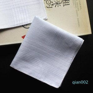 Pure White HANKERCHIEFS 100% coton Homme Table satin Mouchoir Remorqueurs Mens Costume Pocket Place Mouchoir whitest 100pcs / lot