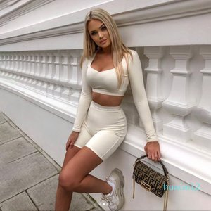 Hot Sale Solid Bodycon Women Matching Set Long Sleeve Fashion Casual Two Piece Outfits Basic Crop Top And Biker Shorts Sets