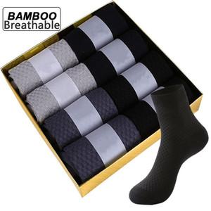 ZTOET Marken-Männer der Bambusfaser-Socken neue schwarze Business-Breath Deodorant Kompressionssocken Männer Lange Socken Big Size EU38-48 200924