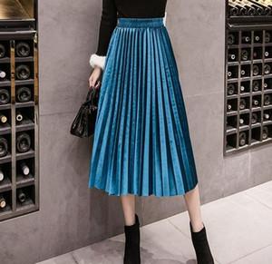 2020 осень зима Бархатная юбка высокой талией Тощий Большие качели Длинные плиссированные юбки Metallic Плюс Размер Saia