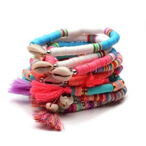 Boho Multicolor Recyclable Полимерная глина Heishi шариков Cowrie Seashell Stretch Браслет Женщины Мужчины Tassels Раковины Surf ювелирных подарков