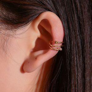 Small fresh earrings simple diamond-studded star ear clip five-pointed star ear bone clip fashion single non-pierced earrings