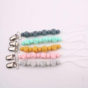 Emzik zinciri, kayın klibi zincir düşmesini önlemek için, çocuklar çiğnemek oyuncaklar, silikon boncuk emzik tutucular, 5 renkler