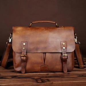 2020 new men's briefcase imported vegetable tanned leather hand-rubbed single-shoulder cross bag postman bag