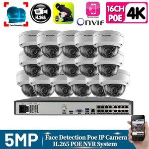 H.265 + 16CH 4K 5MP двухсторонняя аудио система видеонаблюдения NVR Kit Водонепроницаемый AI Смарт Infared набор камеры безопасности POE видео наблюдения ONVIF