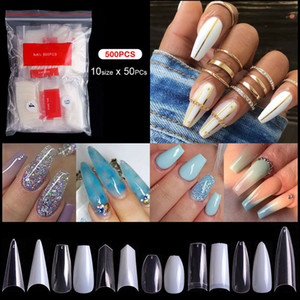 Long Short Stiletto Coffin Nails Falso 500pcs / bag Branco Natural Bege claro unhas Dicas Press On prego completa Cover / cobrir metade do Falso