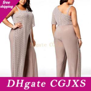 Gelin Elbise Tek Omuz Sequins Dökümlülük Tulumlar Abiye Giyim Şifon Pantolon Artı boyutu Abiye Bc0270 Of 2019 Modern Anne