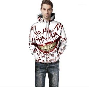 Stampa L'uomo con cappuccio Moda Donna Ridere divertente Top primavera e in autunno Coppie di corrispondenza dei vestiti Big Mouth
