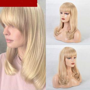 Kadınlar Doğal Blond Bangs ile Düz Dalgalı Peruk Uzun Sarışın Peruk
