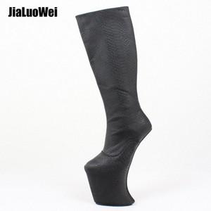 Aşırı Yüksek topuk Bale Kama Boots DİZ Yüksek Önyükleme İçin Kadınlar Custom Boot Şaft Seksi Fetiş Boots Ayakkabı Platformu e3iX #