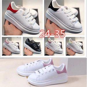 McQueen 2020 Top-Qualität Velvet Black Kids Mädchen Chaussures Schuh Schöne Plattform Kinder beiläufige Turnschuh-Schuh-Leder Volltonfarben 24-35