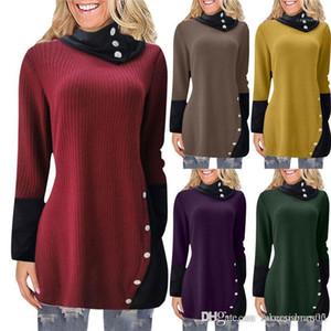 Suéter largo del estilo irregular Cuello del color sólido de invierno vestidos casual para mujeres Ropa para mujer de otoño Desinger